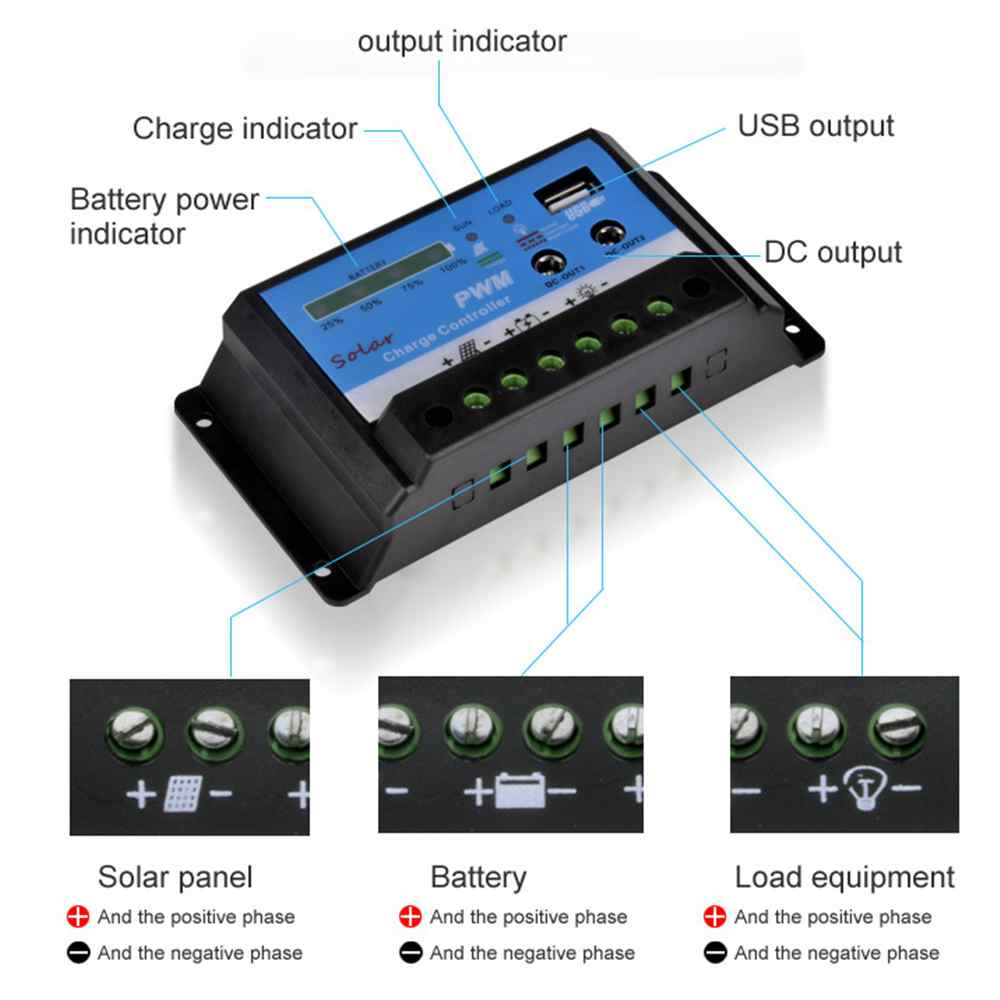 10A 20A12V 24V Solar Controller Charger with USB Port and DC Output Function Thumb 5