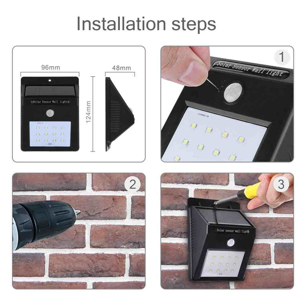 Wireless Waterproof Solar Lights Outdoor Motion Sensor Security Night Lights for Garden, Wall, Driveway, Steps, Patio Thumb 3