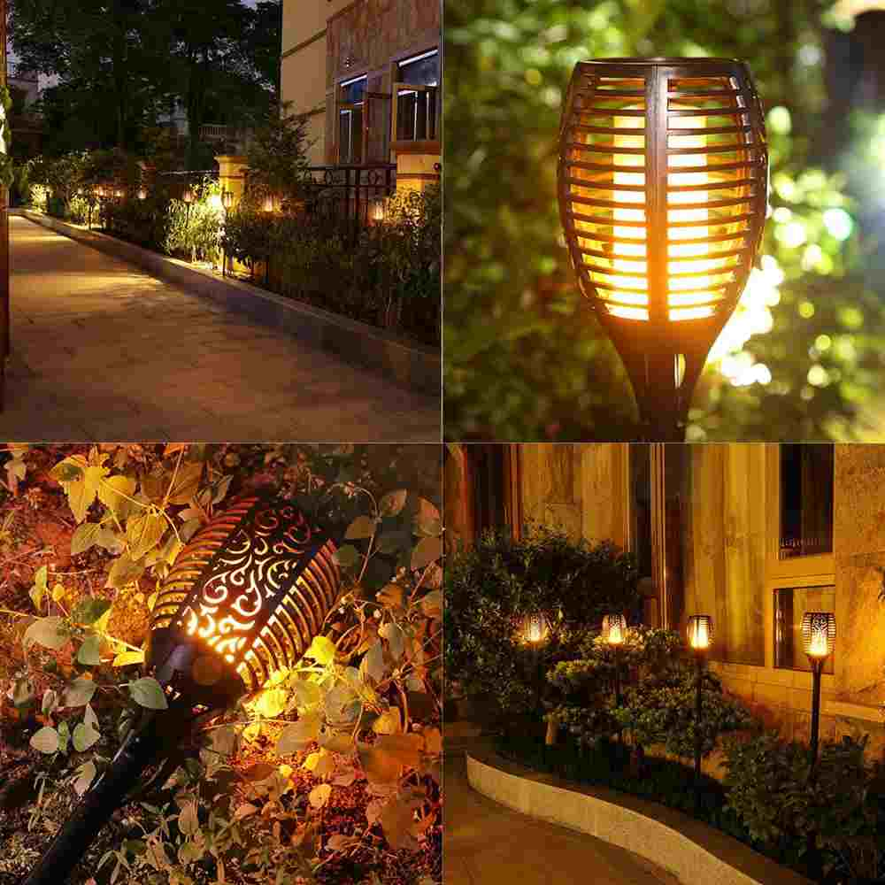 Solar Lights Waterproof Flickering Flames Torches Lights Outdoor Landscape Decoration Lighting Dusk to Dawn Auto On/Off Security Torch Light for Garden Patio Deck Yard Driveway Thumb 4