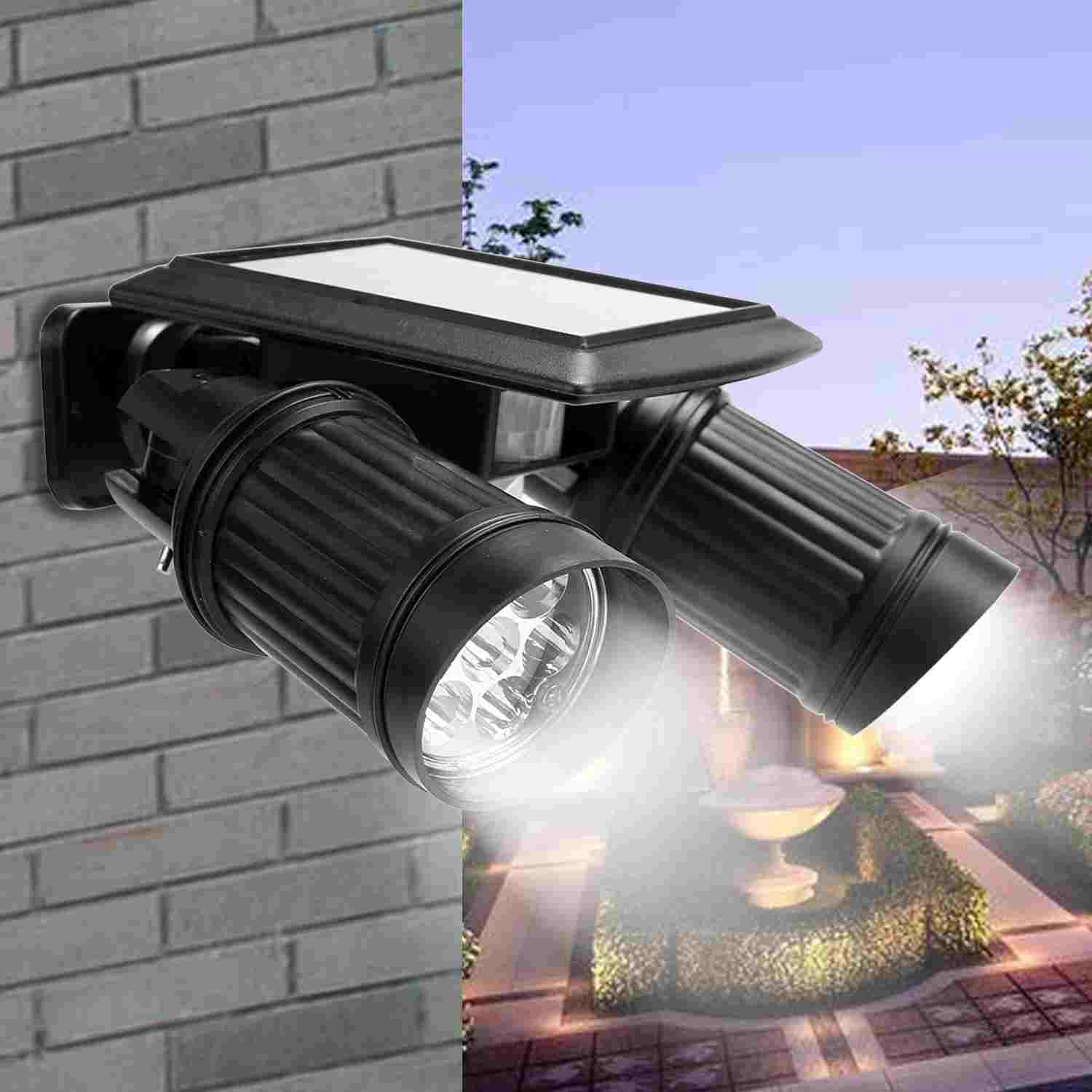 Outdoor Motion Sensor Led Solar Lights Dual Head Spotlight