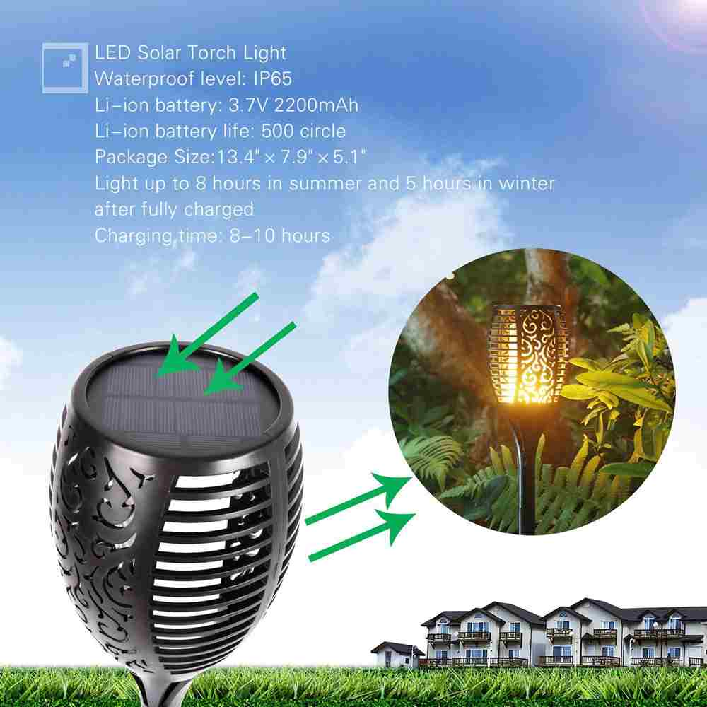 Solar Lights Waterproof Flickering Flames Torches Lights Outdoor Landscape Decoration Lighting Dusk to Dawn Auto On/Off Security Torch Light for Garden Patio Deck Yard Driveway Thumb 3