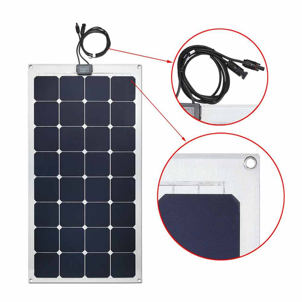 Hinergy Marine Solar Panel 100W 18V with Aluminium Back Sheet for 12V Charge Battery on Boats, Caravans, Motorhomes, Yachts,RVs. Thumb 3