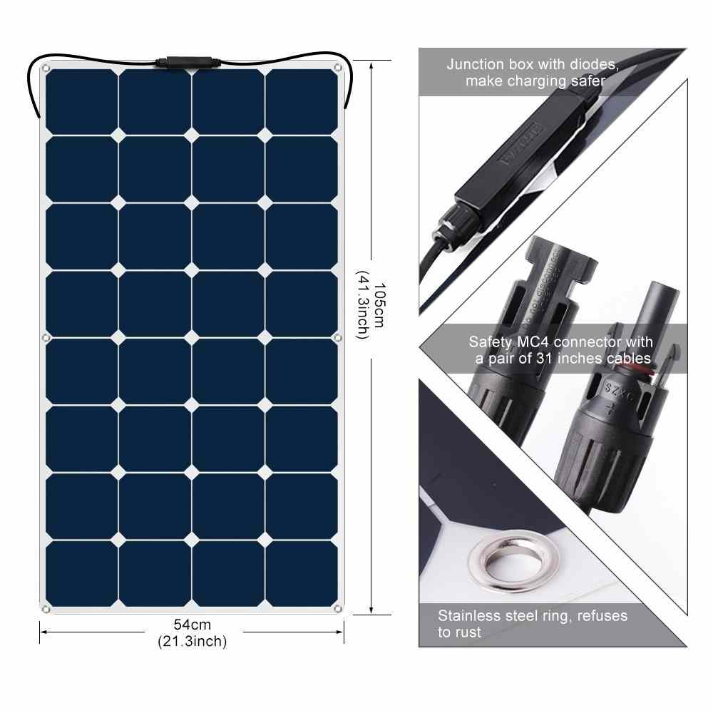SunPower Solar Cell ETFE Flexible Solar Panel 100W 18V 12V Solar Panel Charger Solar Power Flexible Ultra Thin Charging for RV Travel Trailer Van Truck Car SUV Pontoon Boat Cabin Tent Thumb 4
