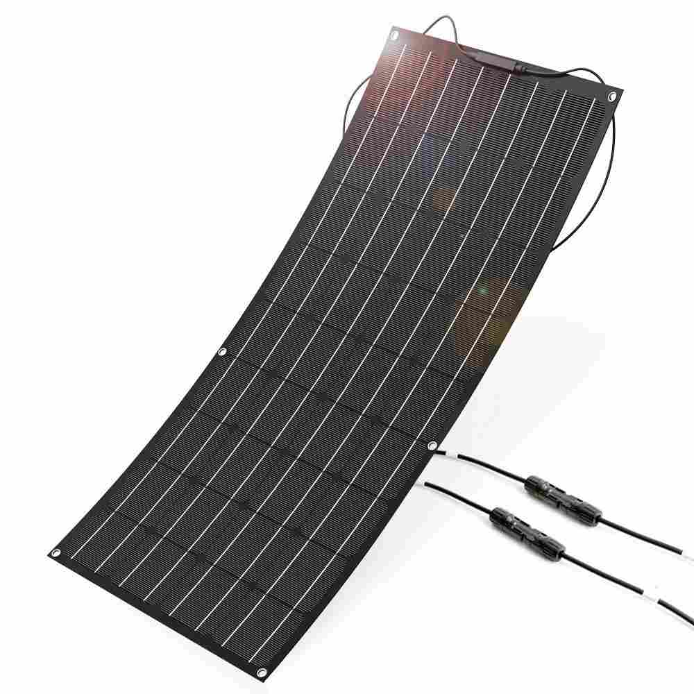 Hinergy Semi Flexible Solar Panel 100W 18V 12V Charger Kit Water-resistant Solar Charger for RV, Boat, Cabin, Tent, Car, Trailer, Other Off Grid Applications Thumb 1