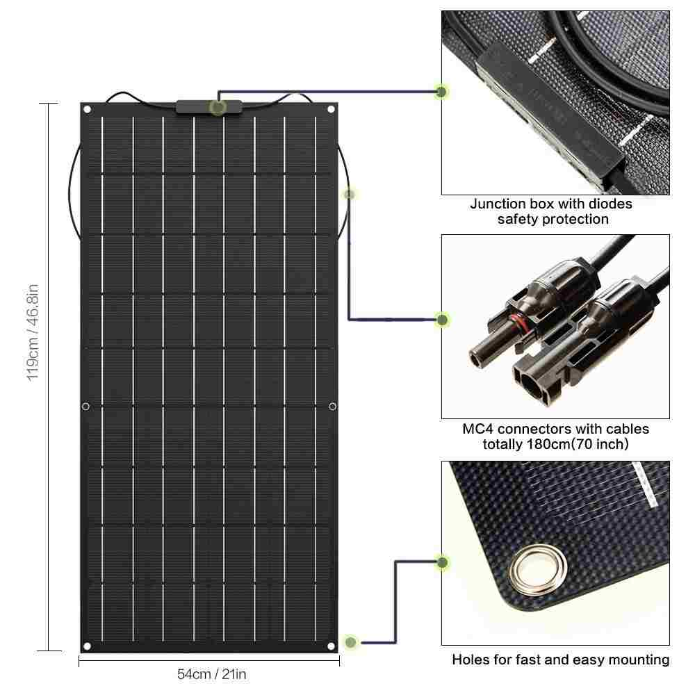 Hinergy Semi Flexible Solar Panel 100W 18V 12V Charger Kit Water-resistant Solar Charger for RV, Boat, Cabin, Tent, Car, Trailer, Other Off Grid Applications Thumb 2