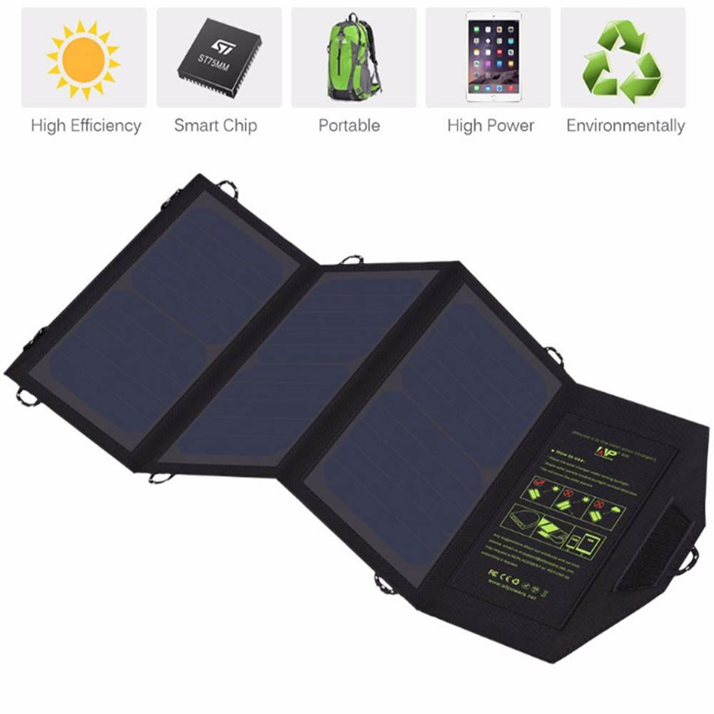 Portable Solar Charger 21w with 2-Port USB Charger Build with High efficiency Solar Panel Cell for iPhone 6s / 6 / Plus, SE, iPad, Galaxy S6/S7/ Edge/ Plus, Nexus 5X/6P, any USB devices made in China Thumb 1
