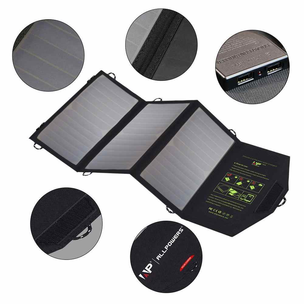 Portable Solar Charger 21w with 2-Port USB Charger Build with High efficiency Solar Panel Cell for iPhone 6s / 6 / Plus, SE, iPad, Galaxy S6/S7/ Edge/ Plus, Nexus 5X/6P, any USB devices made in China Thumb 3