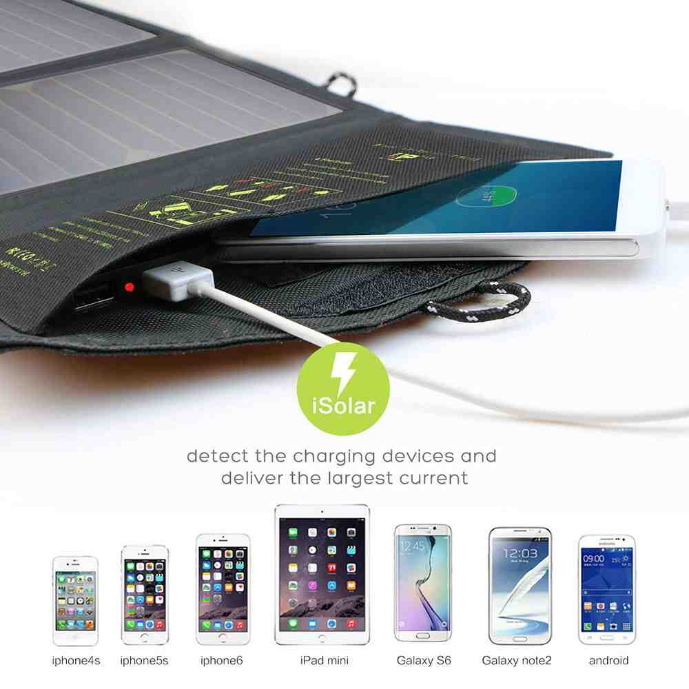 Portable Solar Charger 21w with 2-Port USB Charger Build with High efficiency Solar Panel Cell for iPhone 6s / 6 / Plus, SE, iPad, Galaxy S6/S7/ Edge/ Plus, Nexus 5X/6P, any USB devices made in China Thumb 4
