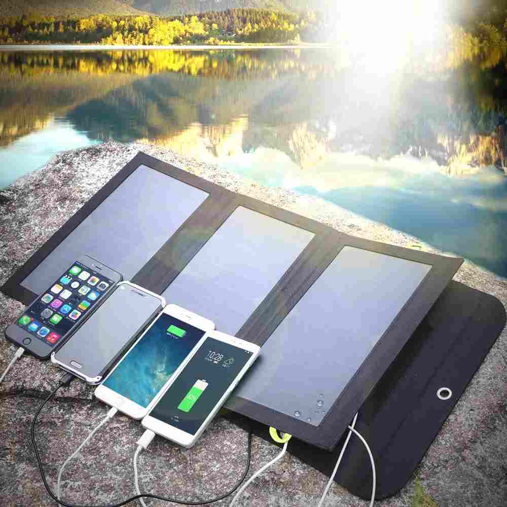 Portable Solar panel battery charger 5V 21W 4 USB output port with sunpower solar panel waterproof backup battery pack for outdoor camping climbing hiking travel,for iPhone X / 8 / 7 / 6s /Plus from China suppliers Thumb 4