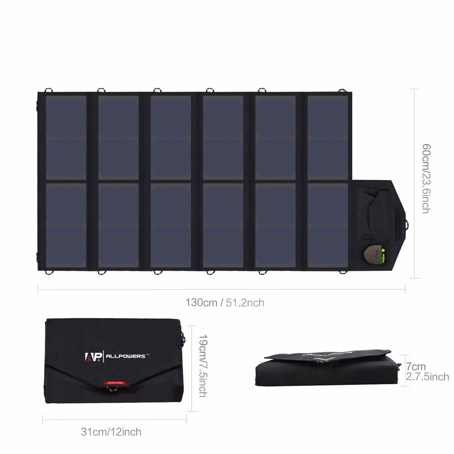 solar panel charger 80W sunpower solar panel with dual output ports 5V2.5A*2PCS & 18V3.5A*1PC for charging smartphones, tablets, car battery,laptops made in China. Thumb 2
