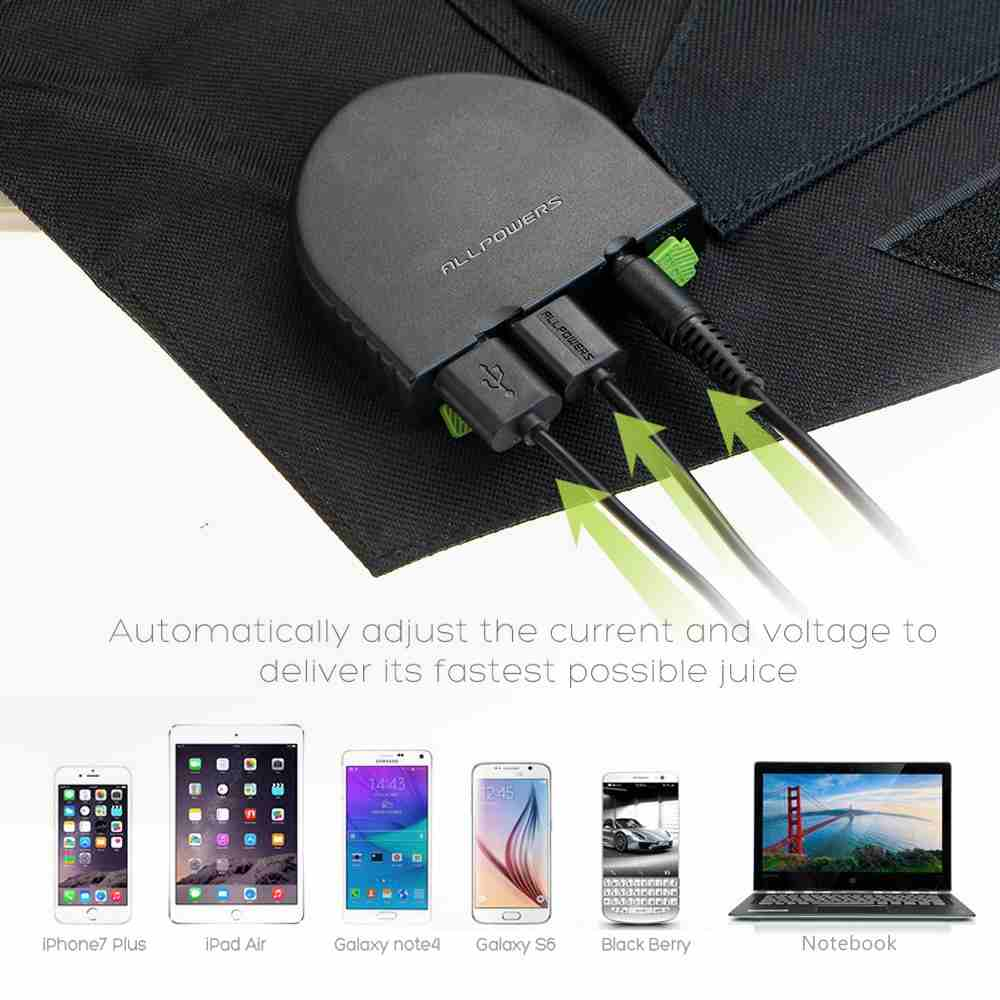 solar panel charger 80W sunpower solar panel with dual output ports 5V2.5A*2PCS & 18V3.5A*1PC for charging smartphones, tablets, car battery,laptops made in China. Thumb 4