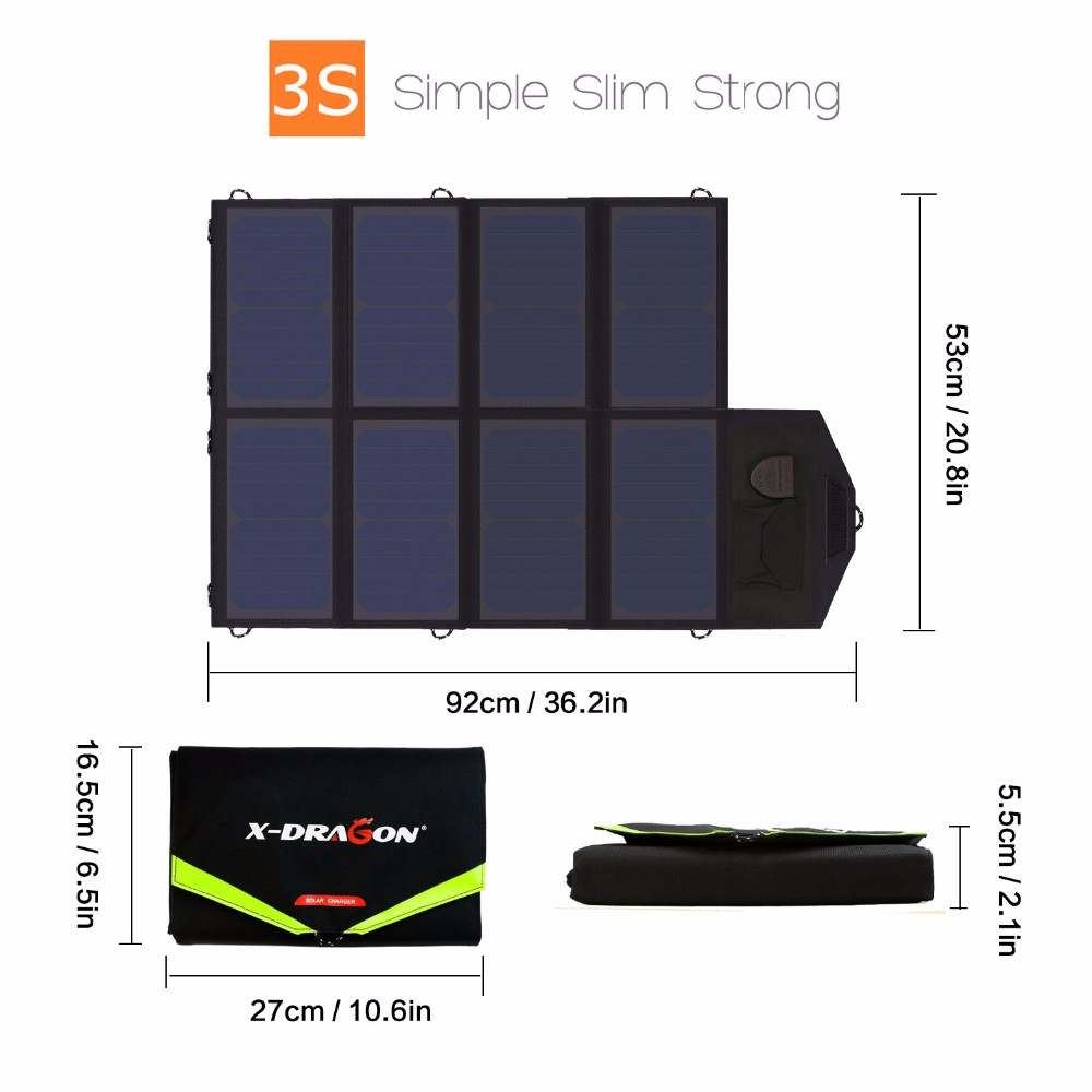 Solar phone charger 40W Solar Panel with triple output ports 5V*2*2PCS & 18V*2A for charging smartphones, tablets, car battery,laptops from China supplier Thumb 1