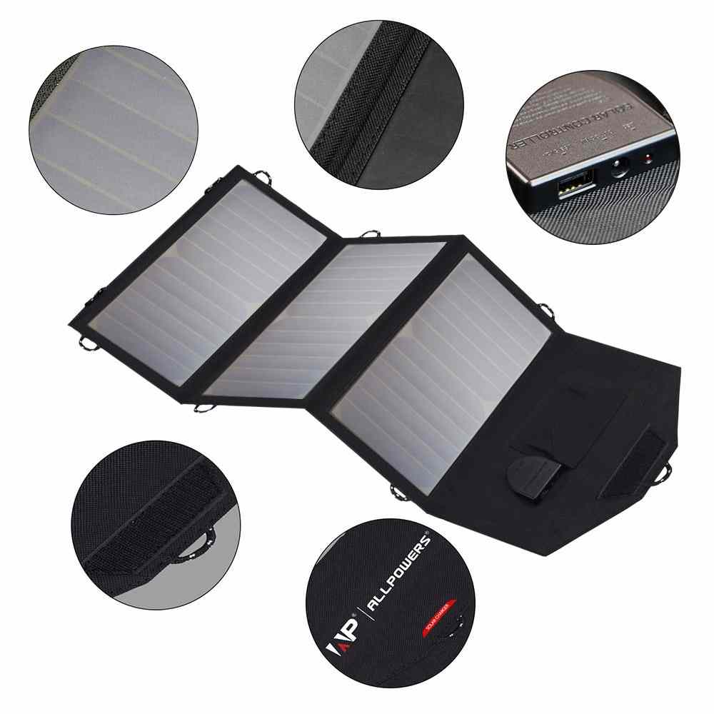 Foldable Solar powered phone charger 21W Solar Panel with Dual output ports 	18V*1A & 5V*2A for charging smartphones, tablets, car battery,laptops from China suppliers Thumb 2