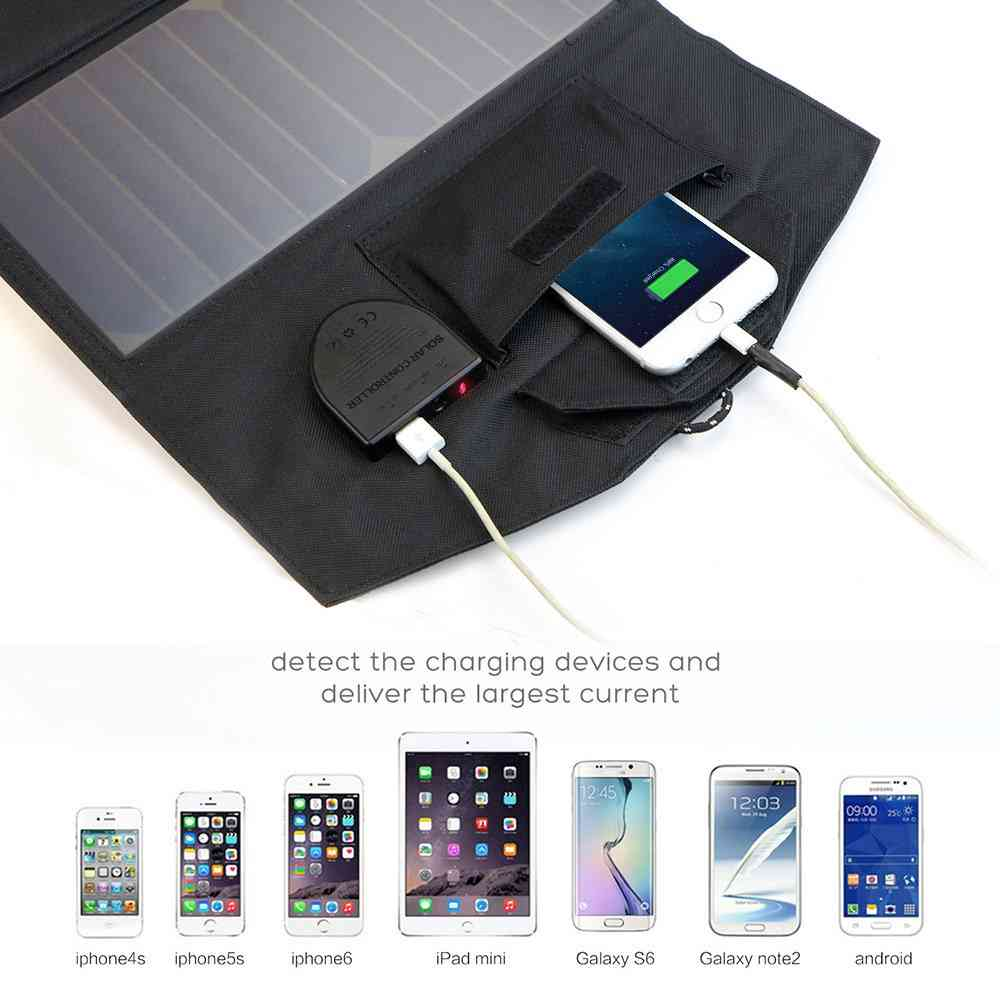 Foldable Solar powered phone charger 21W Solar Panel with Dual output ports 	18V*1A & 5V*2A for charging smartphones, tablets, car battery,laptops from China suppliers Thumb 4