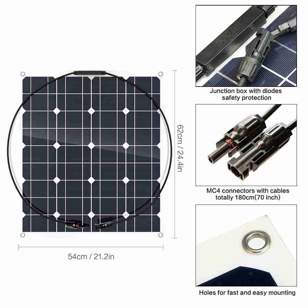Hinergy Flexible Solar Panel 50w 12v Solar Charger for RV, Boat, Cabin, Tent from China Manufacturer Thumb 3