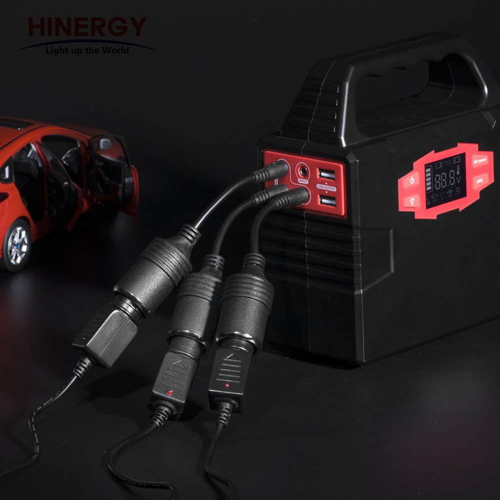 Hinergy mini 100W Portable 12V 110V 220V output Lithium Ion Battery Solar Generator 220v portable power pack for Home Use Thumb 4
